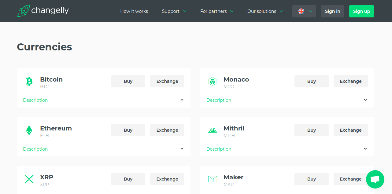 Changelly - trade cryptocurrency